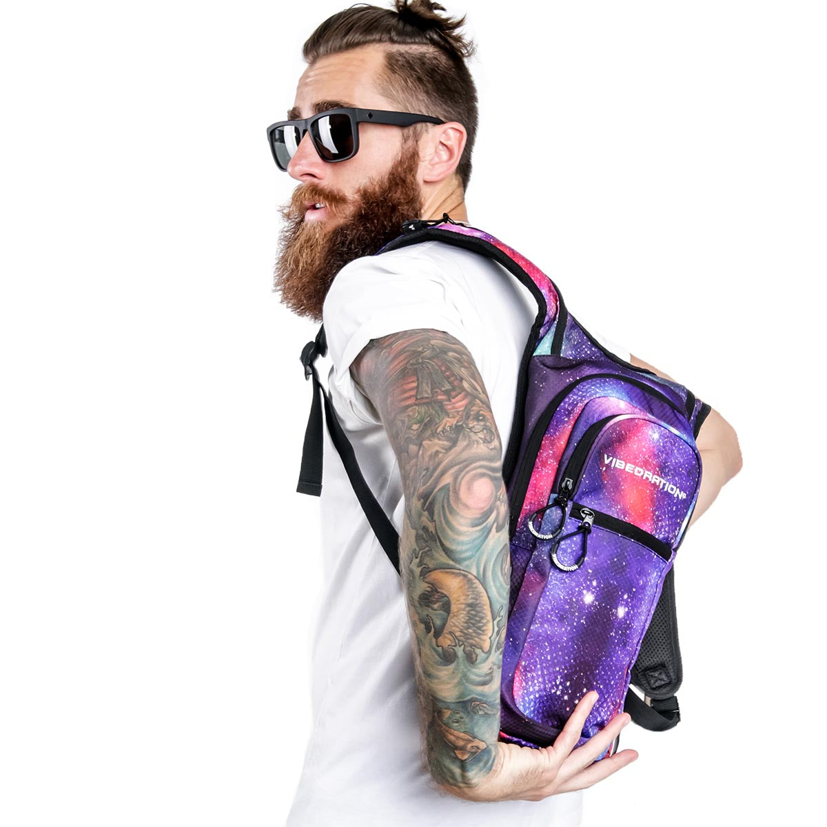 Male wearing Galaxy hydration pack