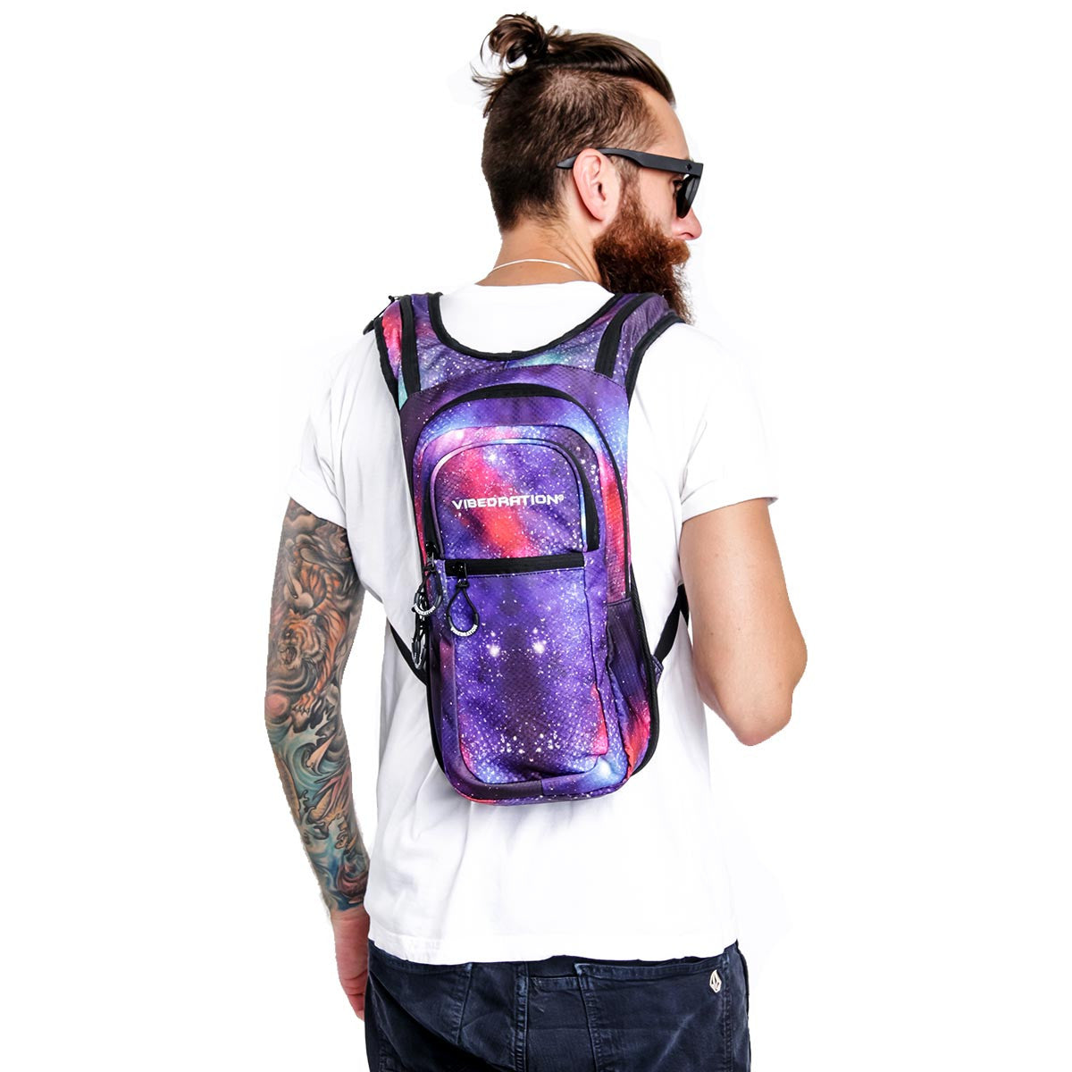 Galaxy water pack on male