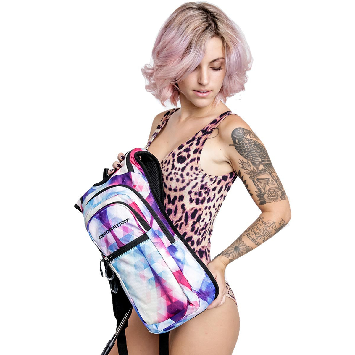 Female holding Galactic hydration pack