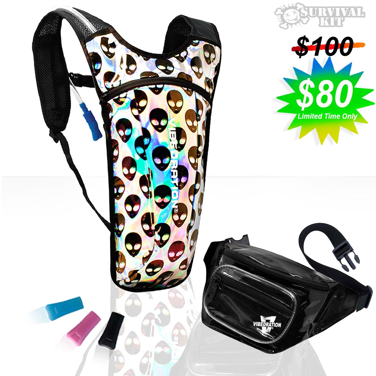 Holographic Alienz Water Pack and Black Fanny Pack Festival Kit