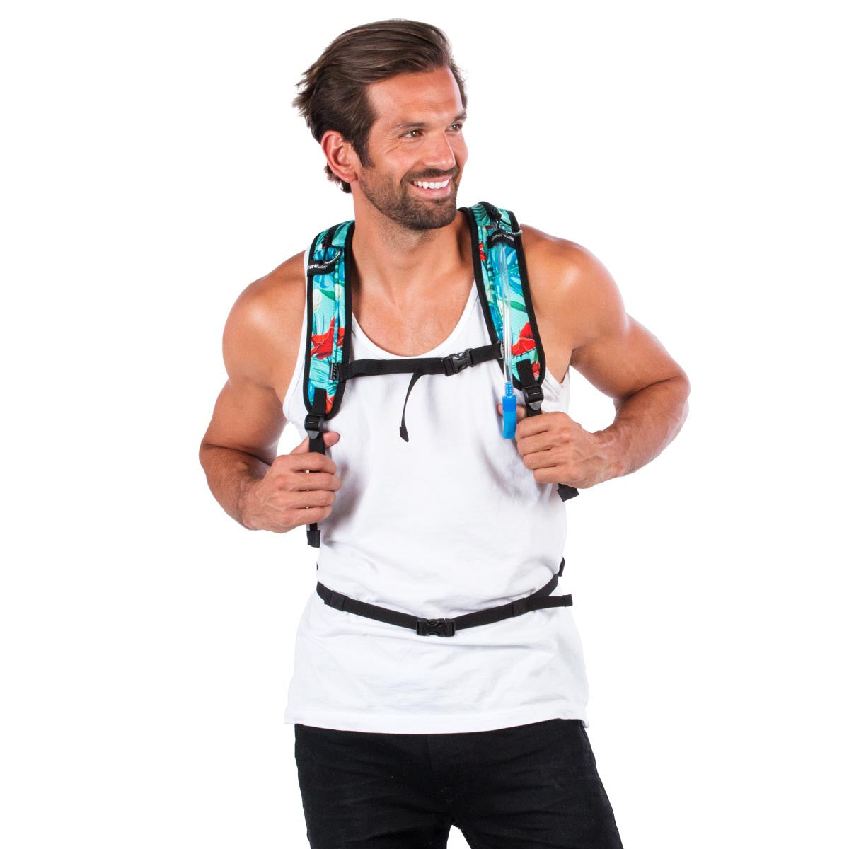 Front view of male wearing aqua blue Hawaiian water backpack.