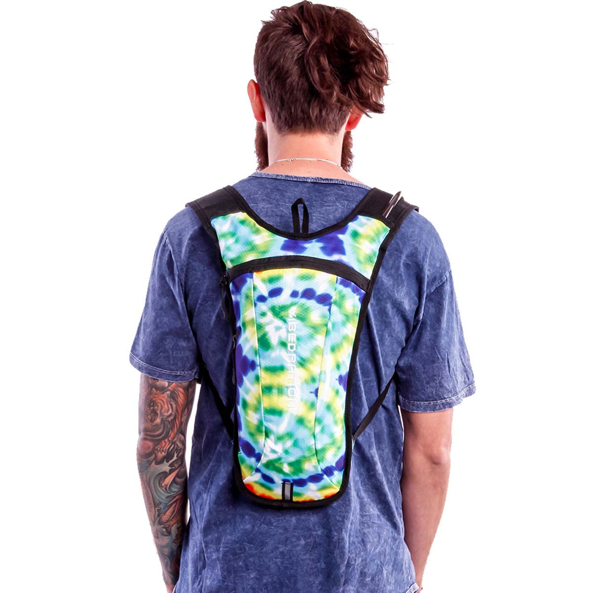 Male wearing Tie-dye Hydration pack