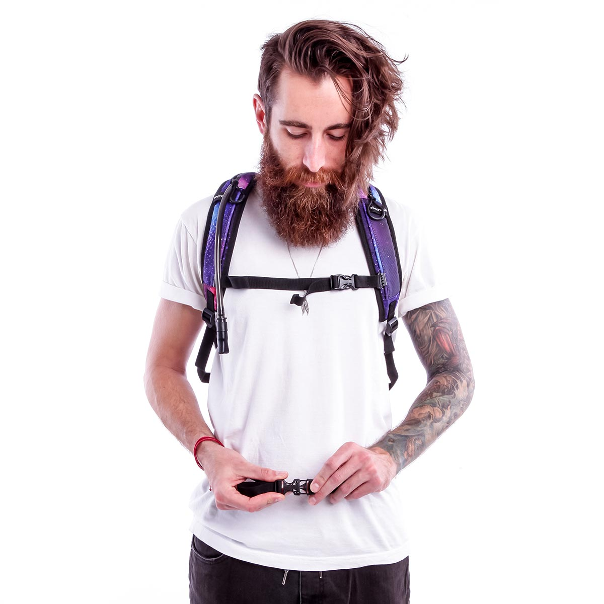 Front shot of a guy adjusting the size of waist strap