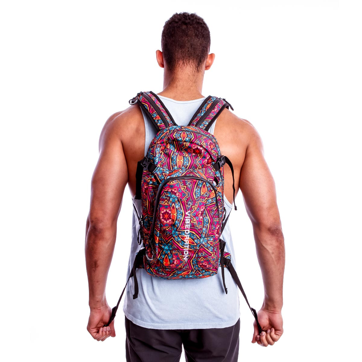Bohemian printed large Hydration Pack with three liter water bladder