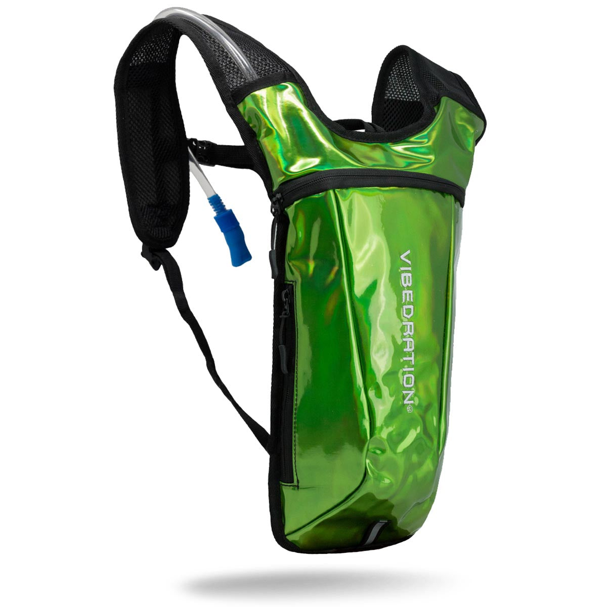 alien green holographic hydration pack for raves