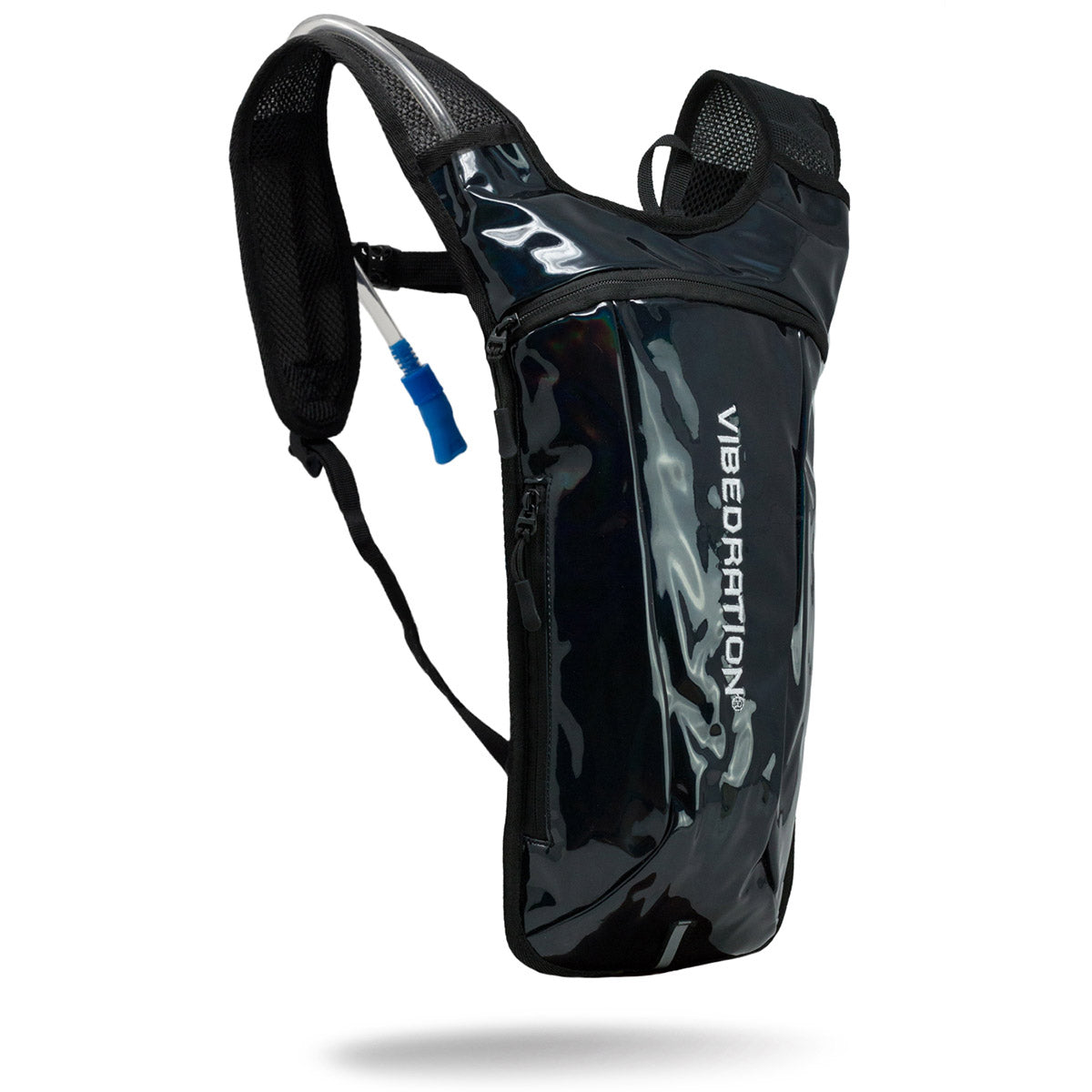 Black Holographic Rave Hydration Water Pack with two liter water bladder