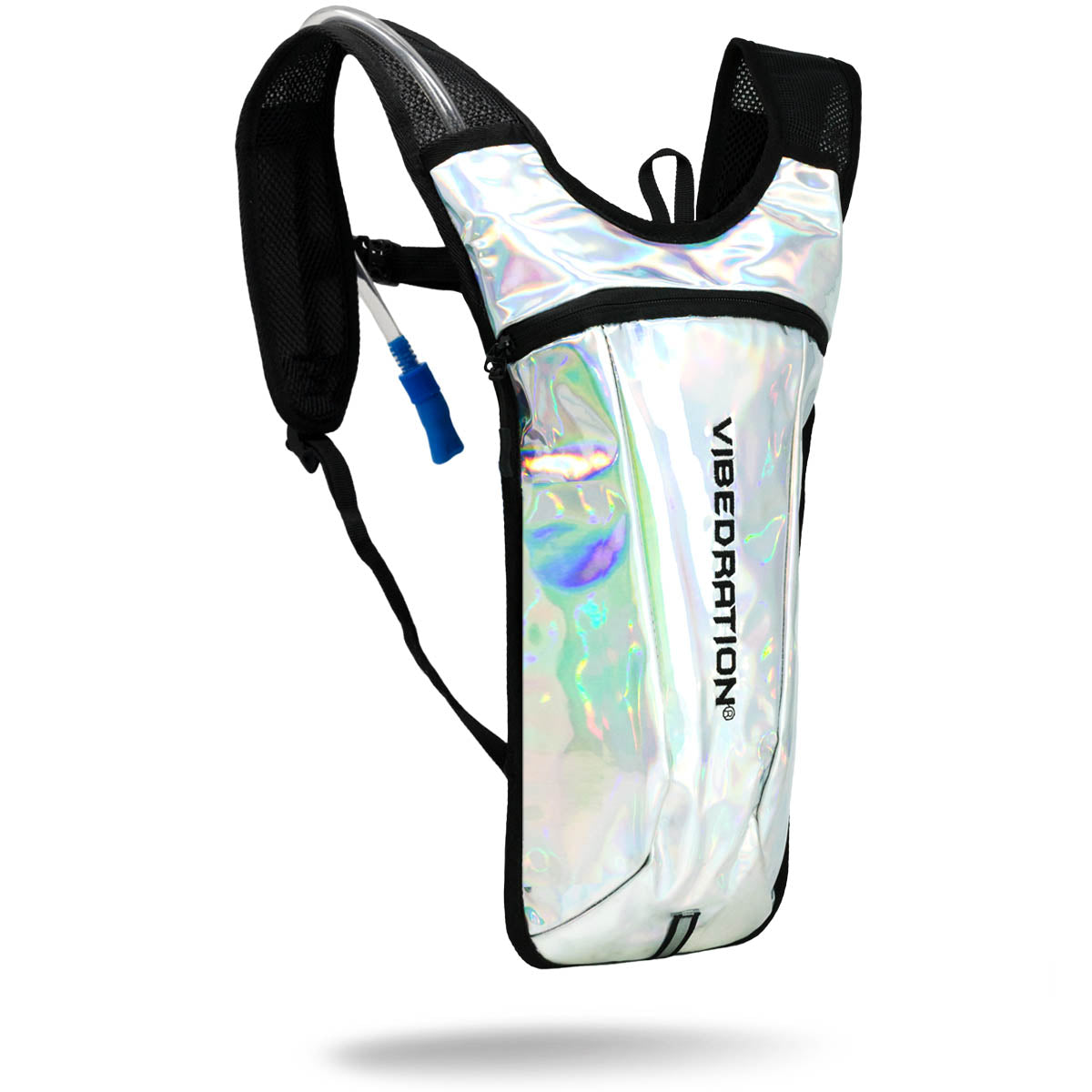 Silver holographic hydration pack for raves.
