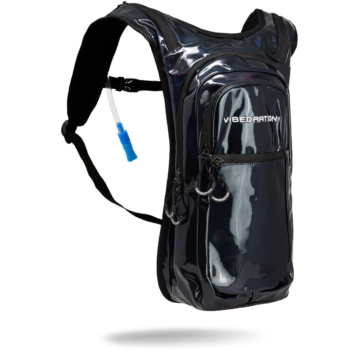 Black holographic hydration pack for raves