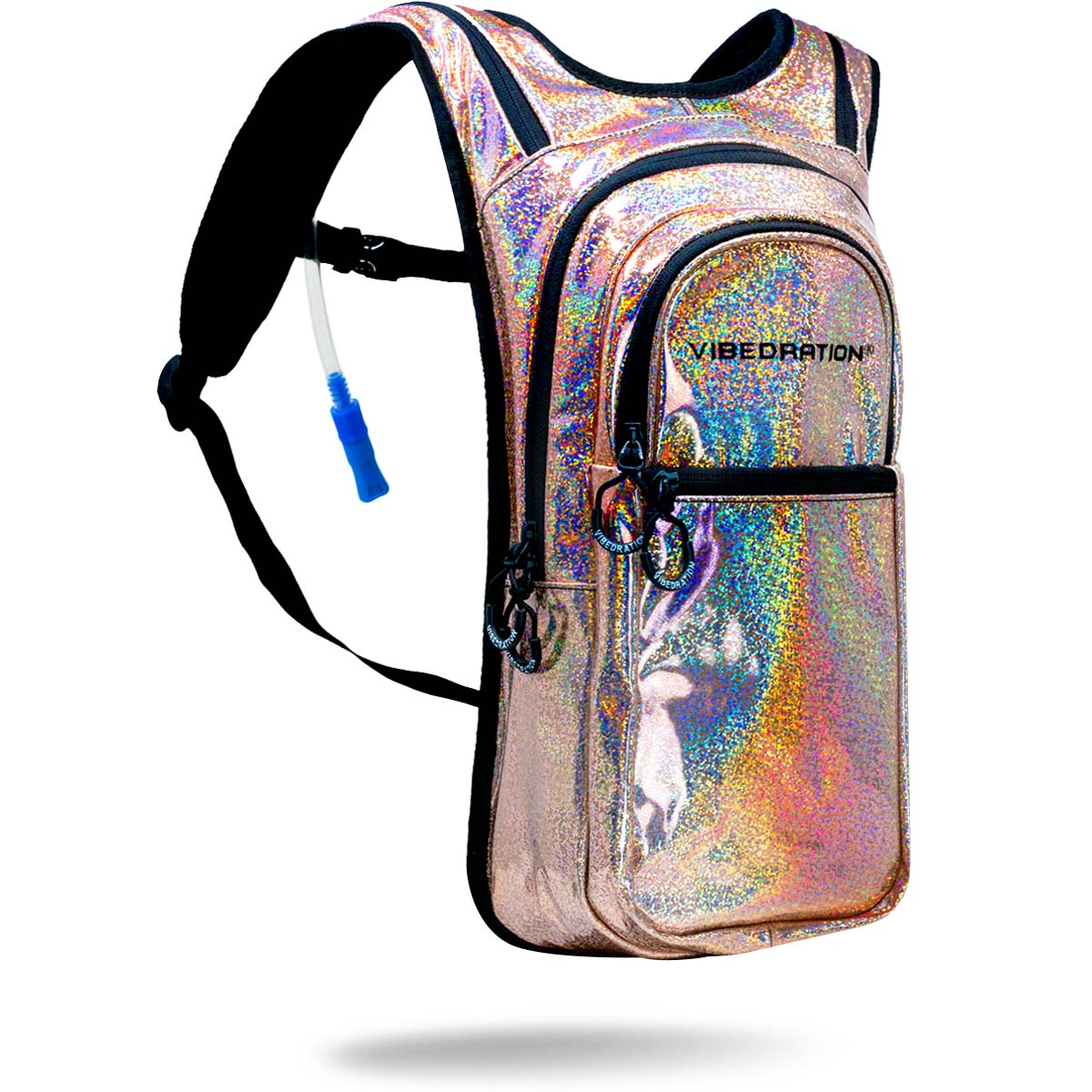 Light gold holographic hydration pack with rainbow sparkles