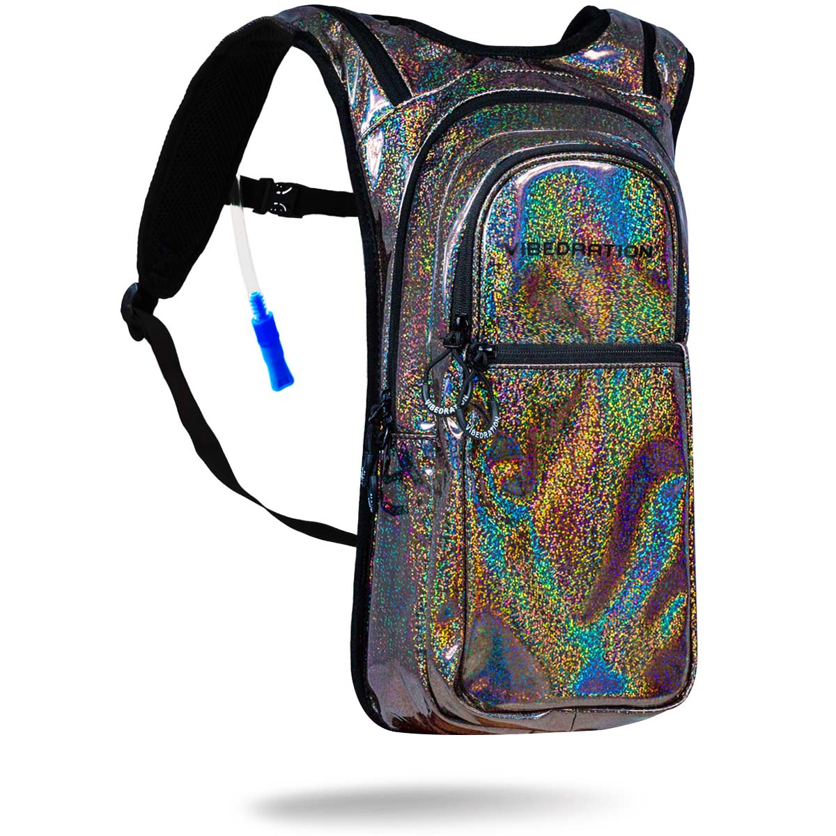 Bronze rainbow holographic hydration pack with 2 liter water bladder