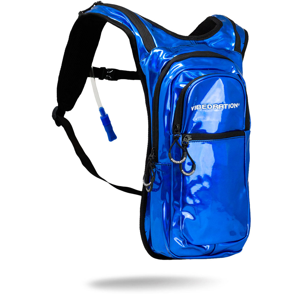 Blue holographic hydration pack with three pockets and 2 liter water capacity