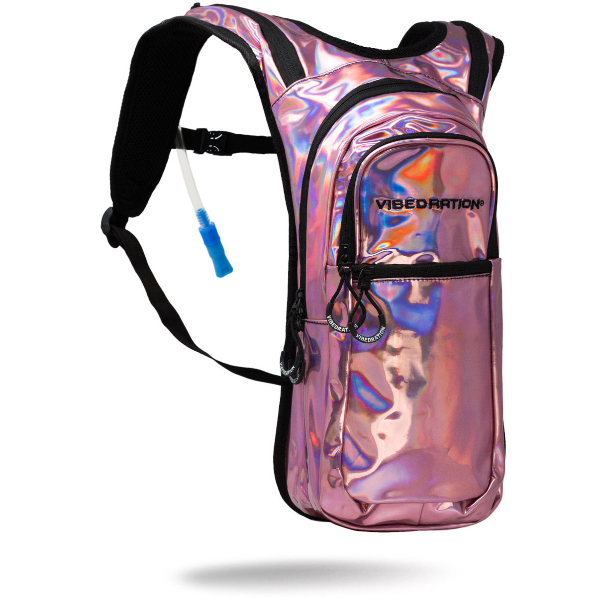 pink holo hydration backpack two liter water bag
