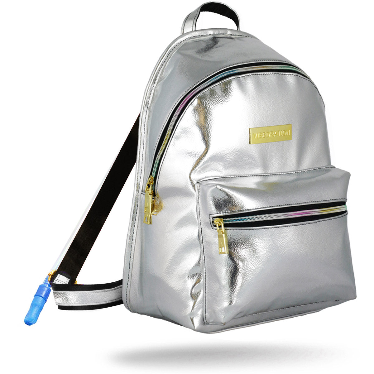 Platinum silver leather hydration pack with rainbow zippers.