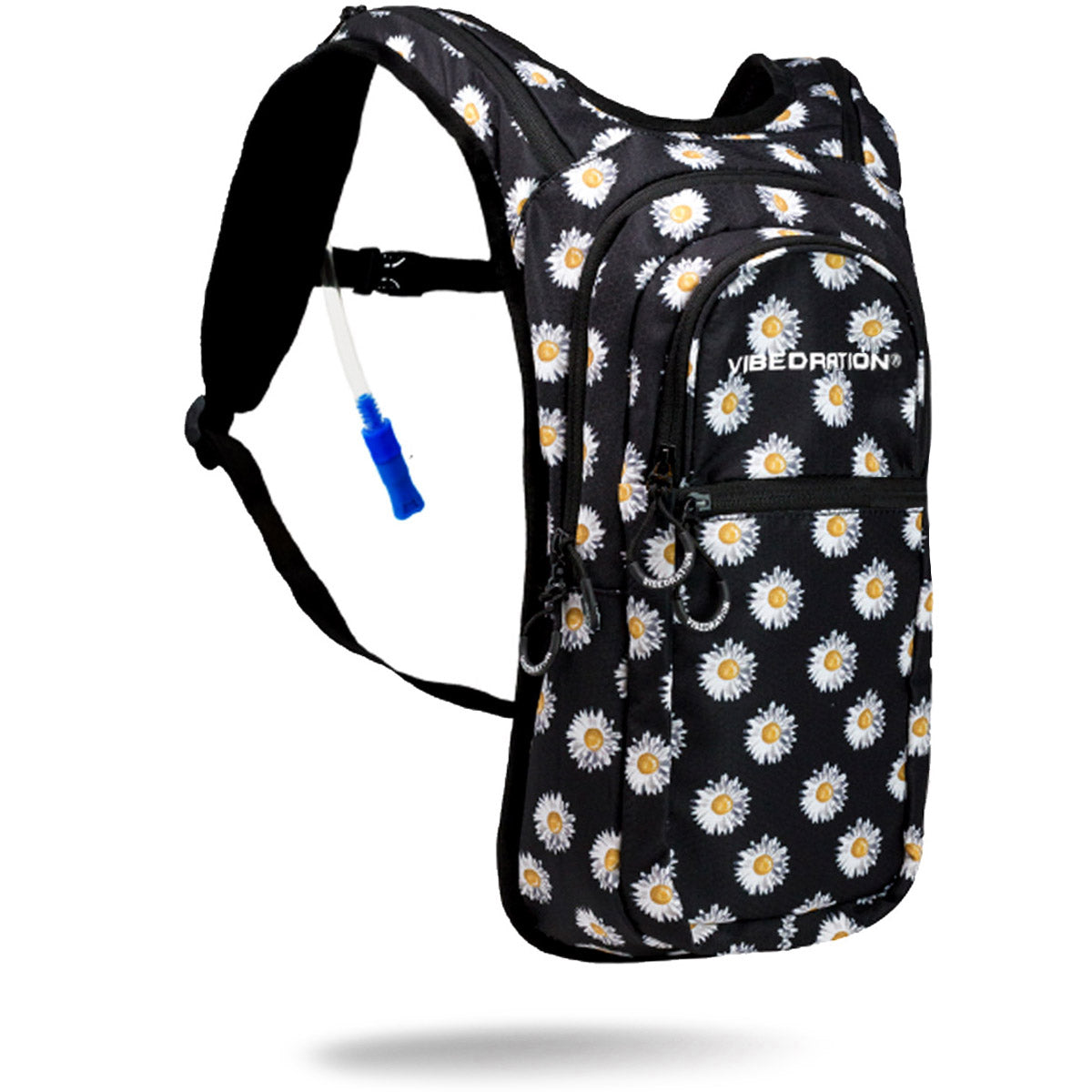 Two liter black hydration pack with white daisies printed