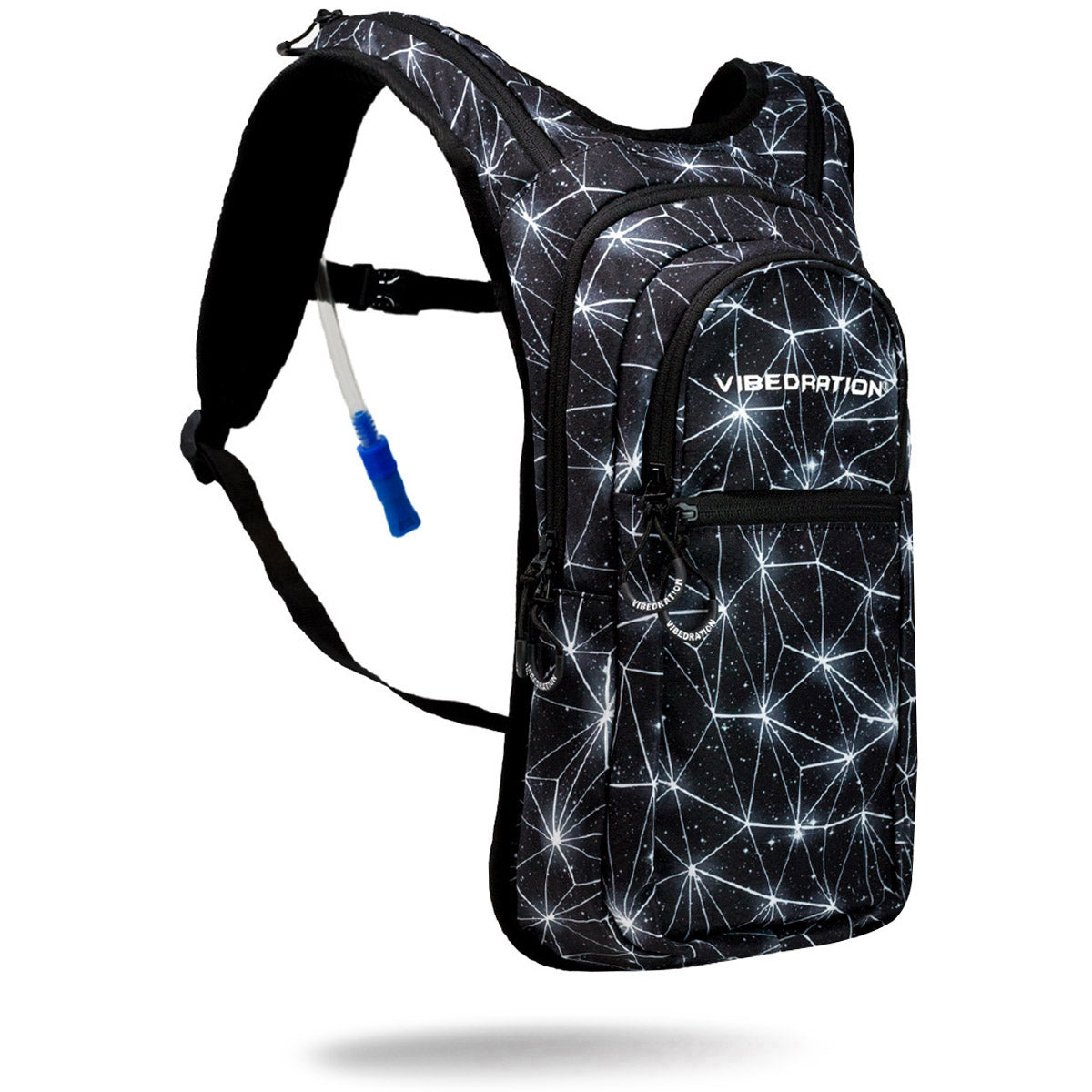 Black and white space hydration pack with two liter water reservoir