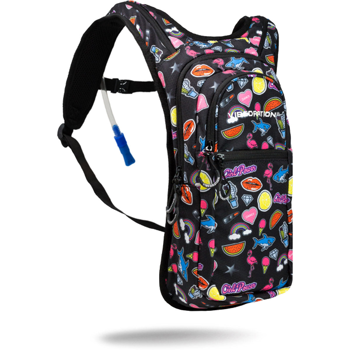 2.0L black hydration pack with lipstick, sharks, kisses, watermelons and ice cream cones