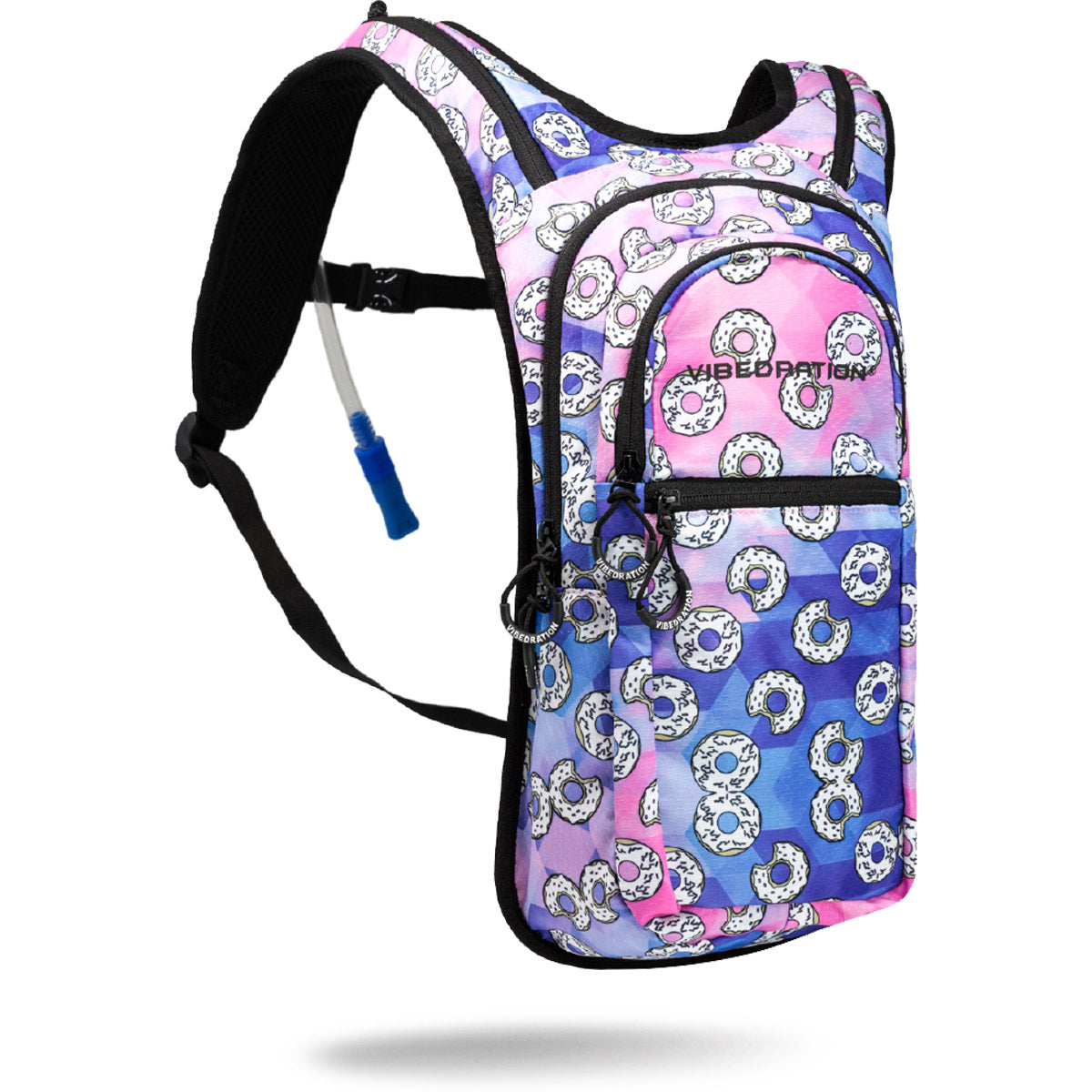 Pink and Blue donut printed hydration pack with 2.0 Liter water bladder.