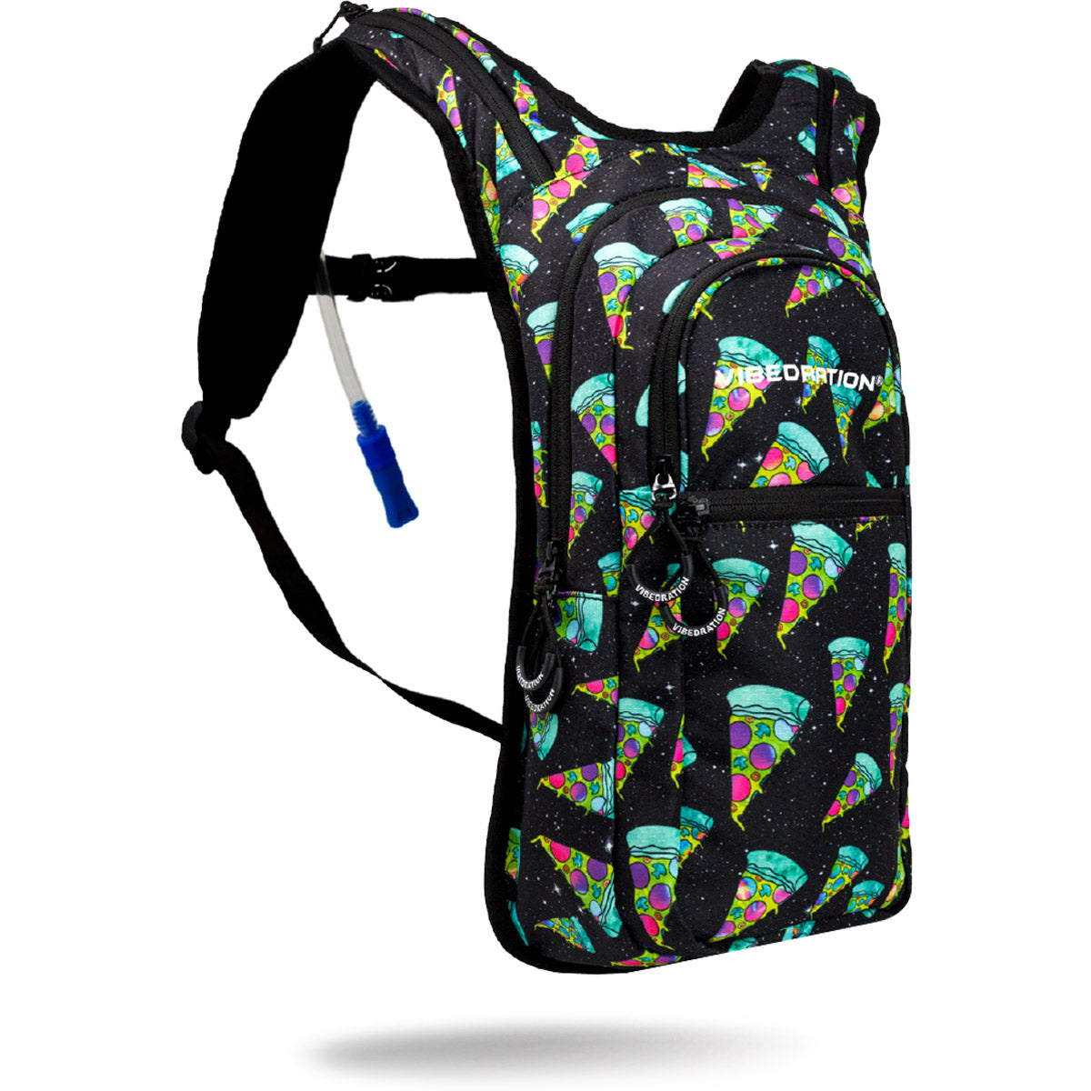 Green and Black pizza hydration pack with 2 liter water capacity