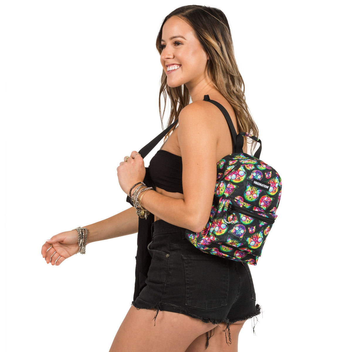 Trippy Kitty Mini Backpack for Raves