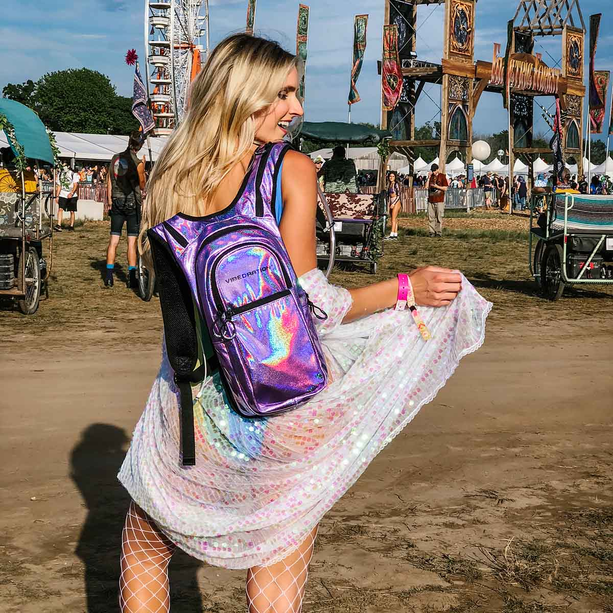 Lavender holographic hydration pack with 2 liter water bladder