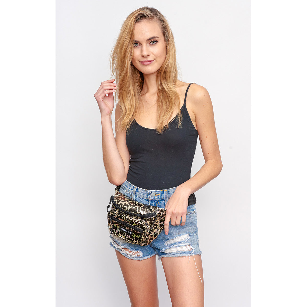 female wearing wild life leopard holographic multi pocket fanny pack