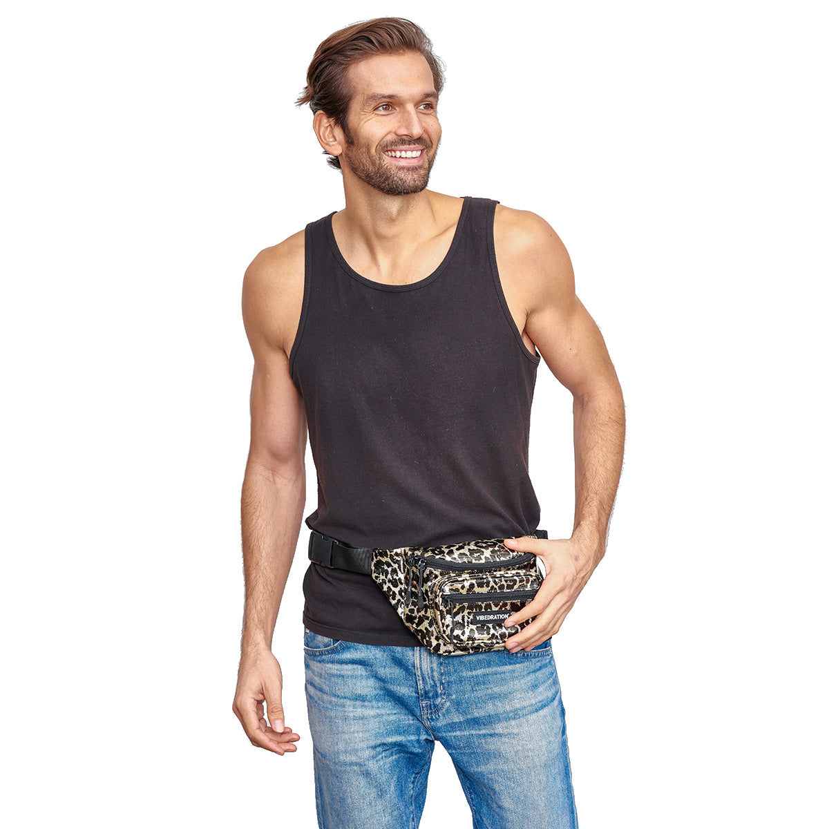 male wearing leopard holographic multi pocket black and gold fanny pack