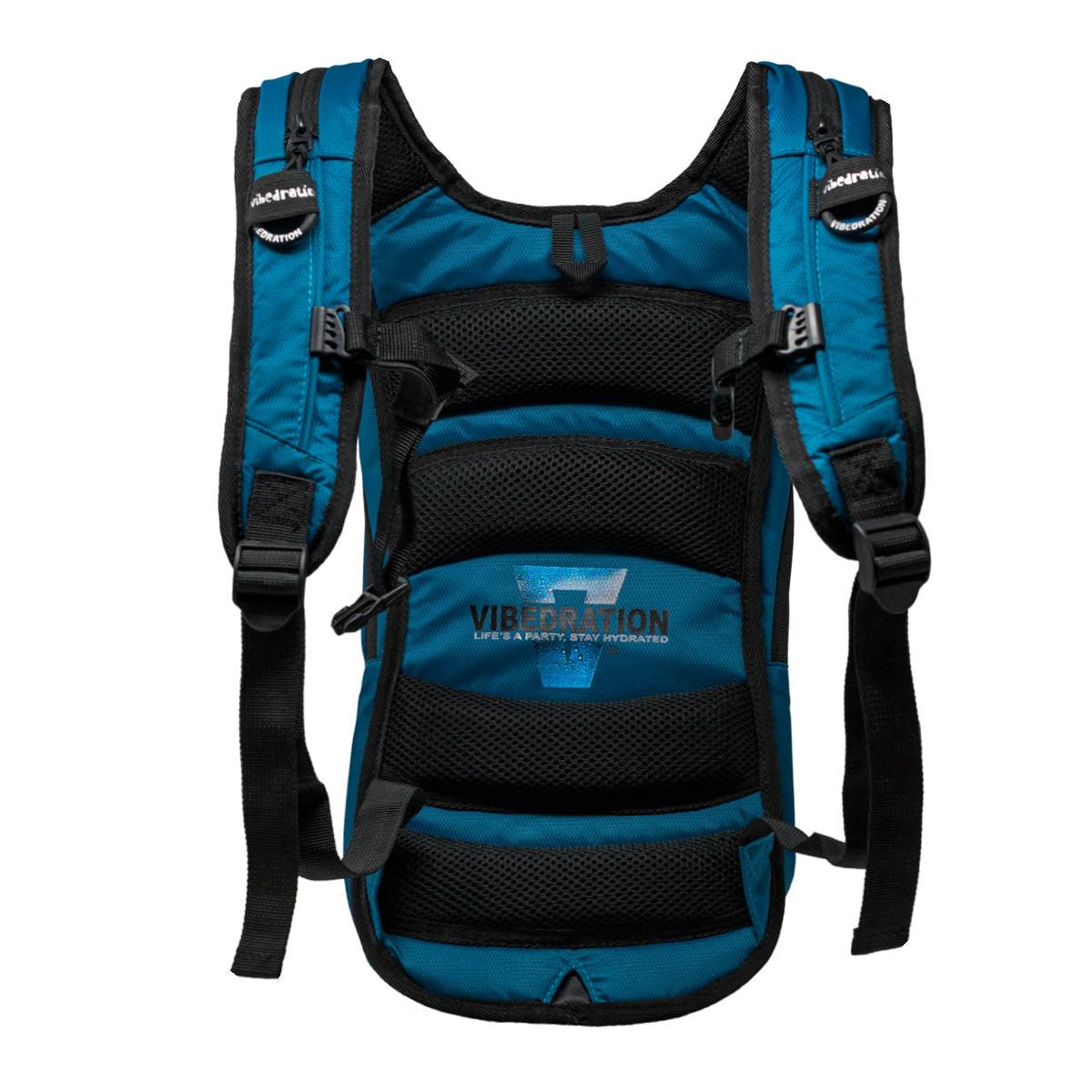 Backside view of padded dark blue nylon hydration pack.