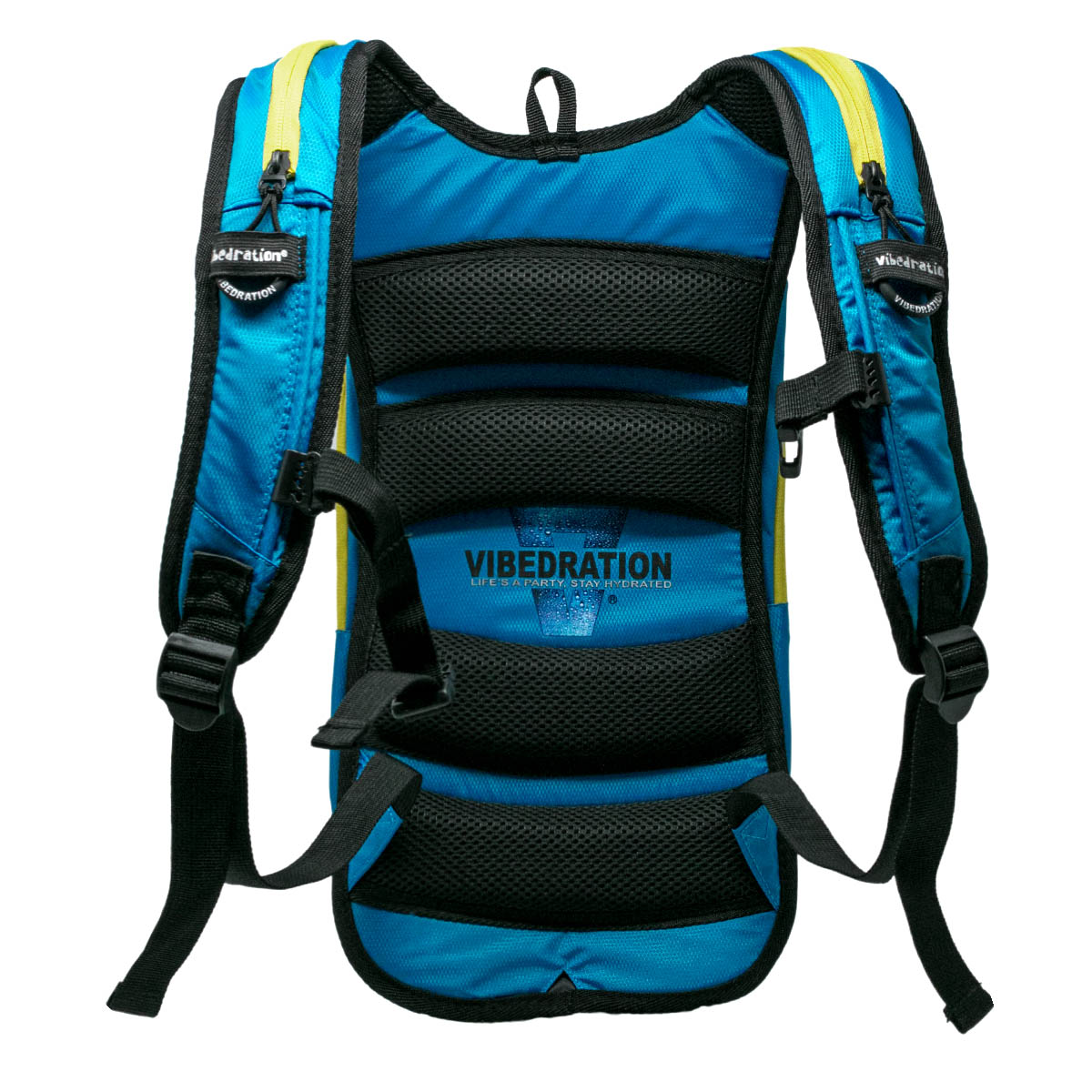 Padded backside of baby blue and yellow hydration pack with three pockets.