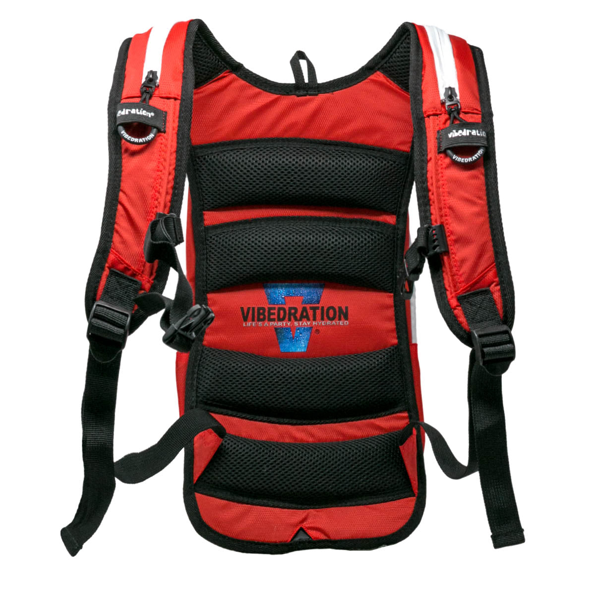 Padded backside of red and white nylon hydration pack