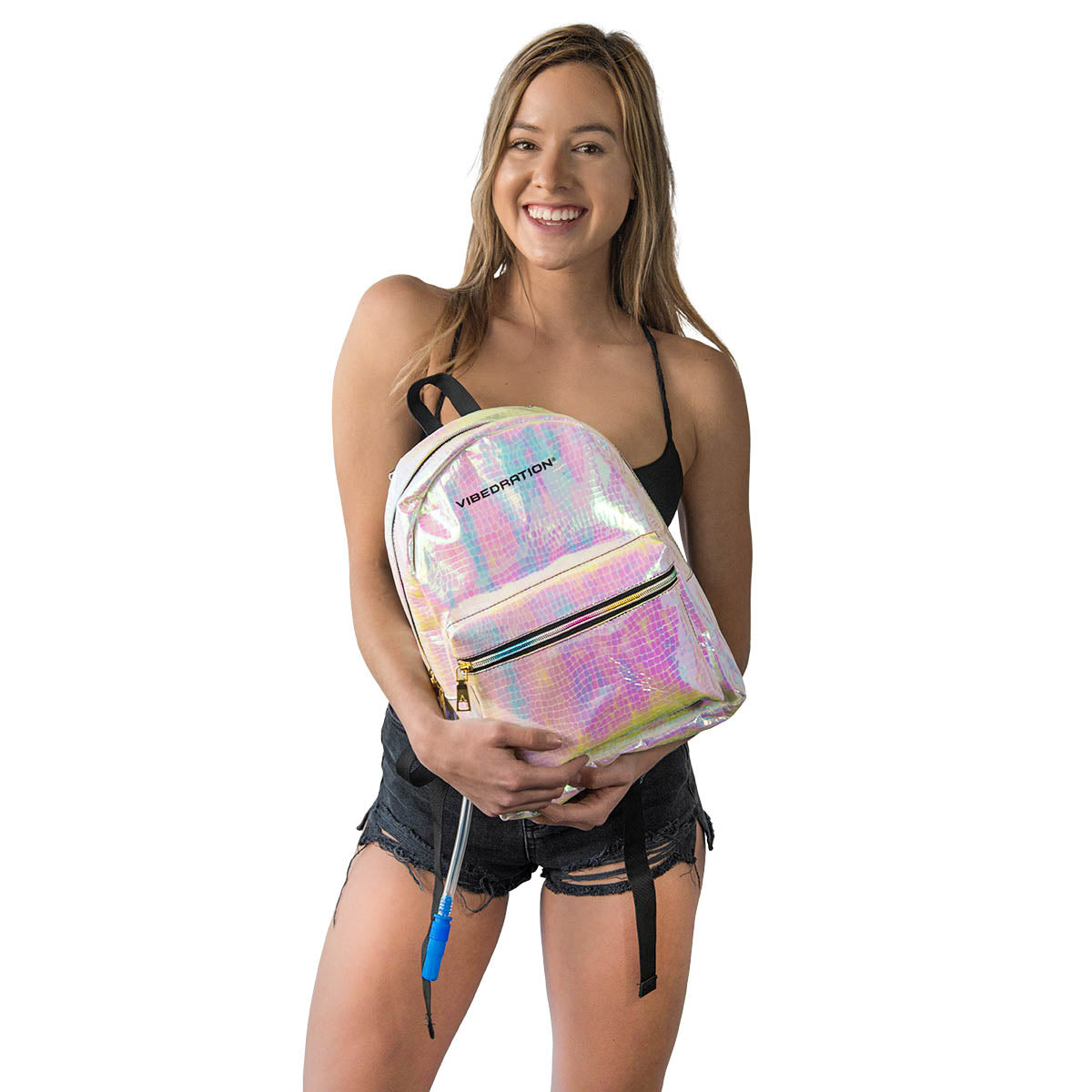 Girl holding Vegan Leather hydration pack