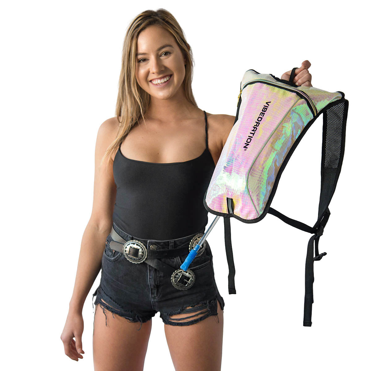 Model holding Vegan Leather hydration pack