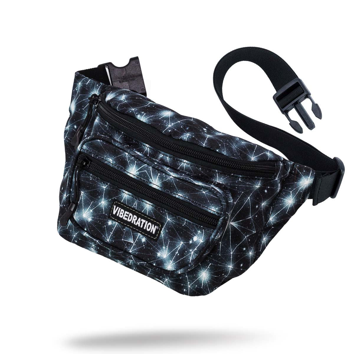 Black and white space fanny pack with three storage pockets