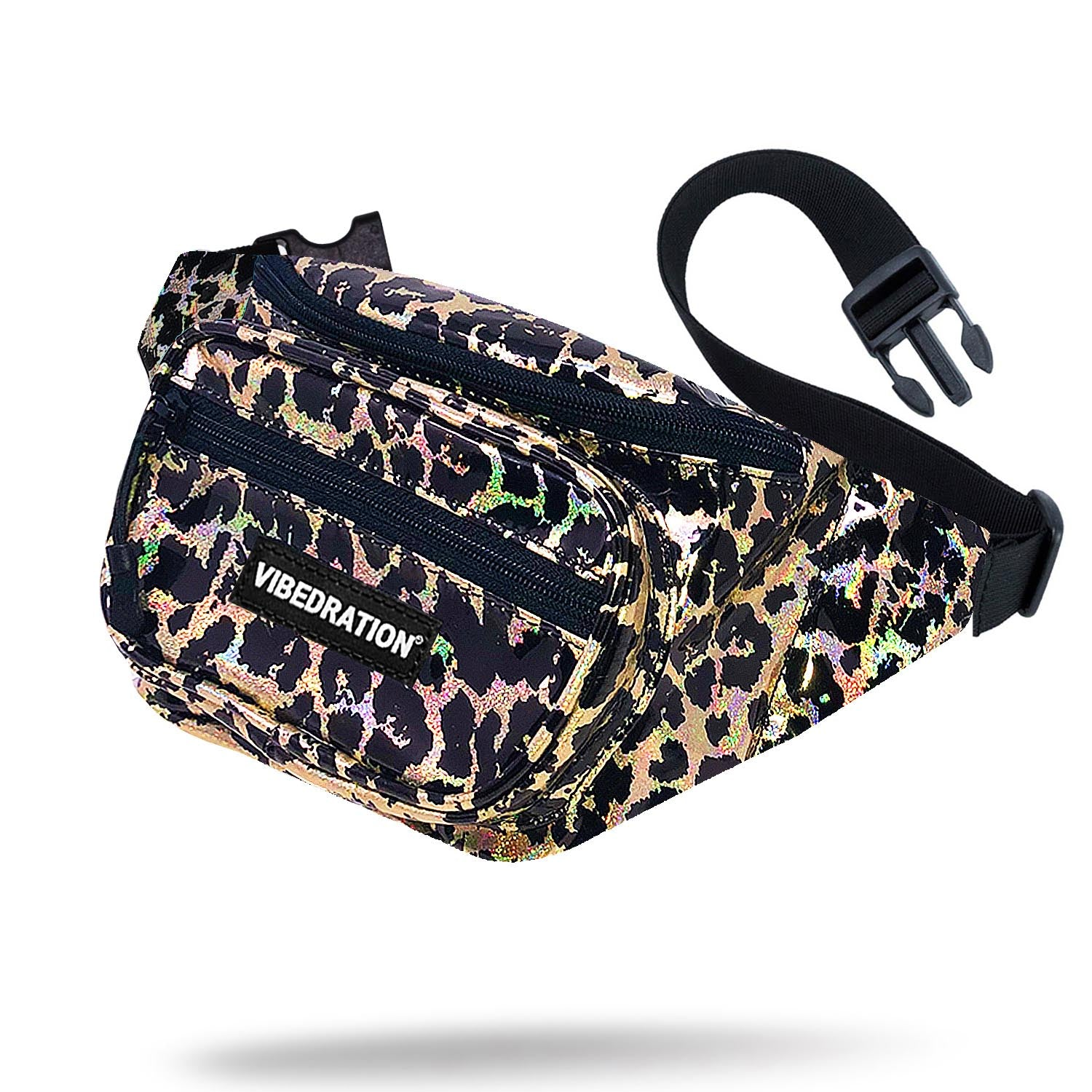 wild life leopard holographic multi pocket fanny pack