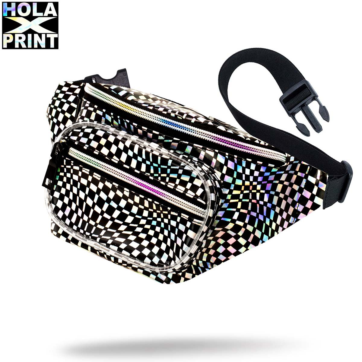 Holographic Sling pack with rainbow zippers