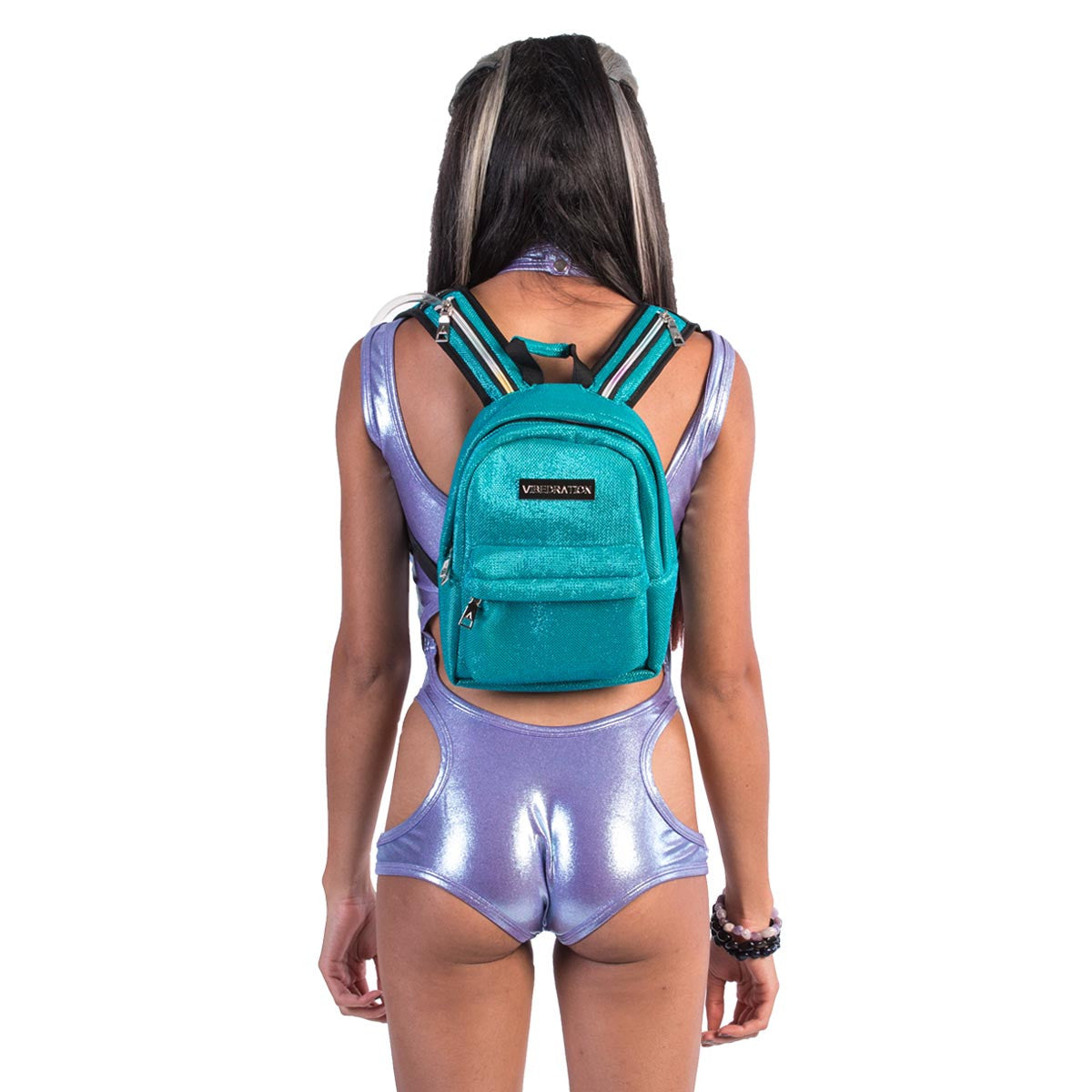 Small Blue Glitter hydration pack on female model