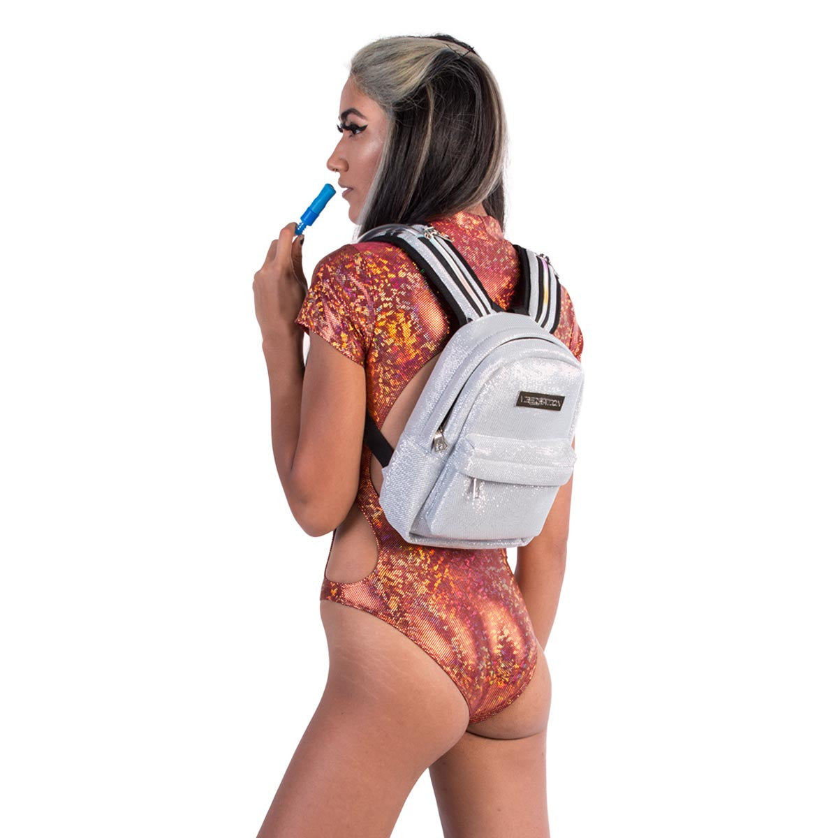 Model wearing Titanium Glitter small hydration pack