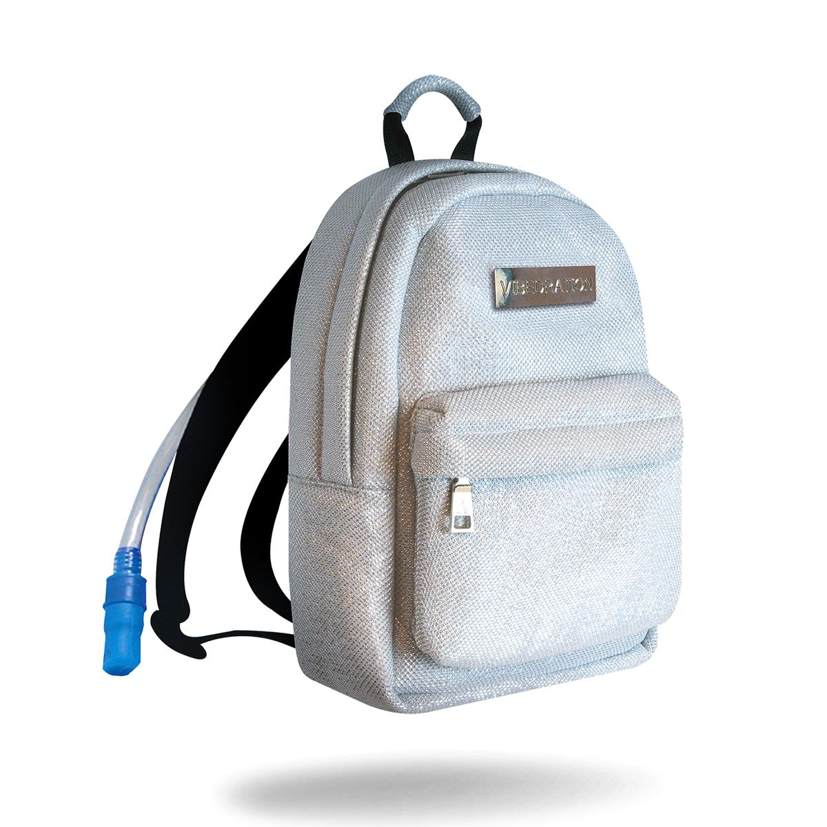 Silver hydration pack with one liter water bladder