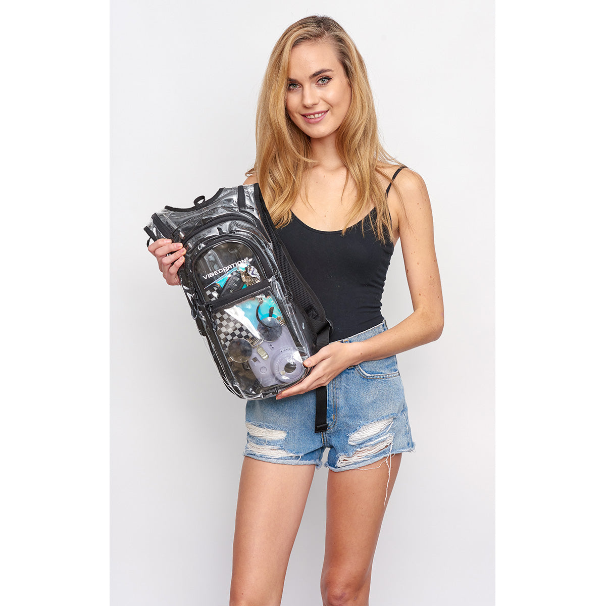 Woman Holding VIP 2.0L Crystal Clear EDC Festival Hydration Pack