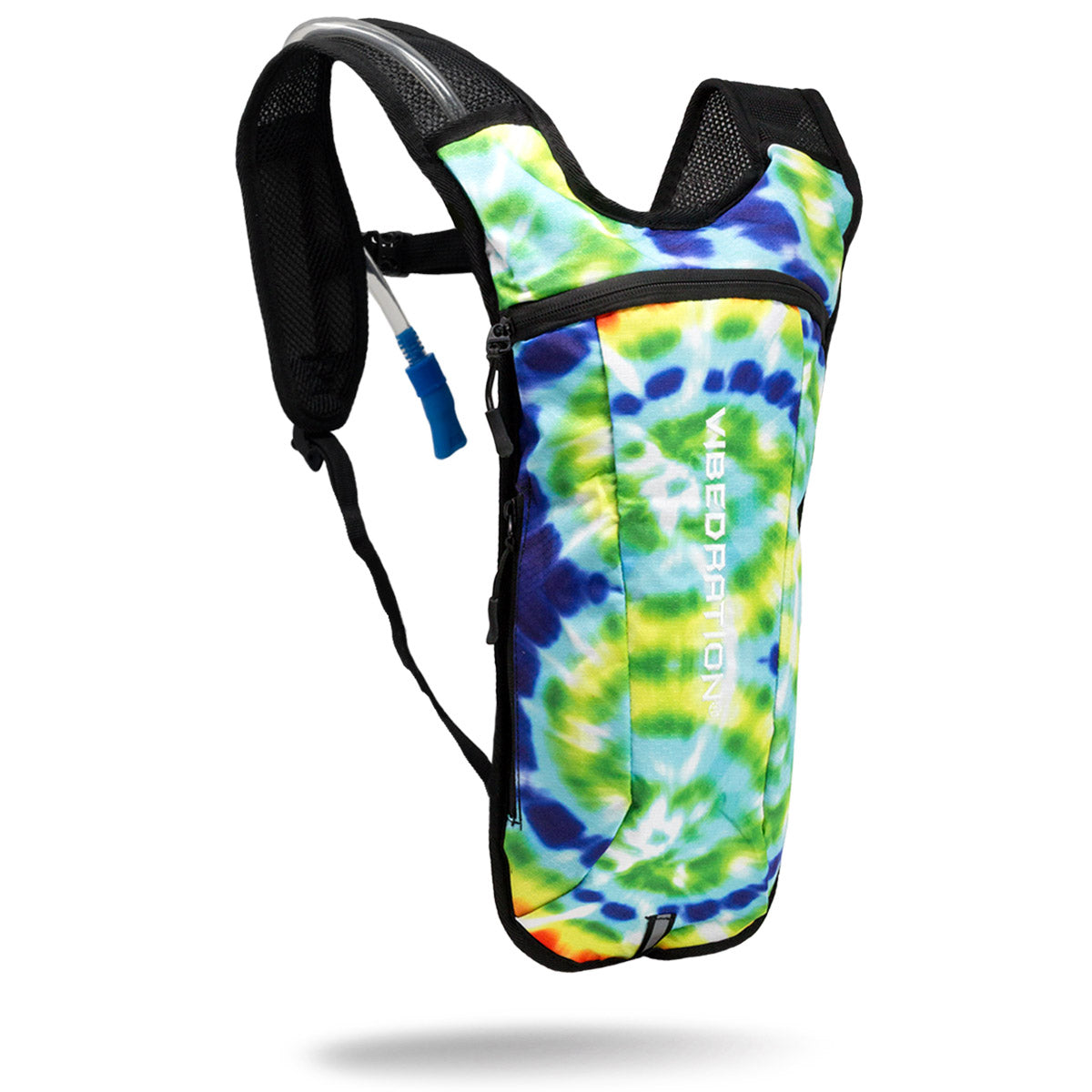 Blue and yellow tie-dye hydration pack with two liter water bladder