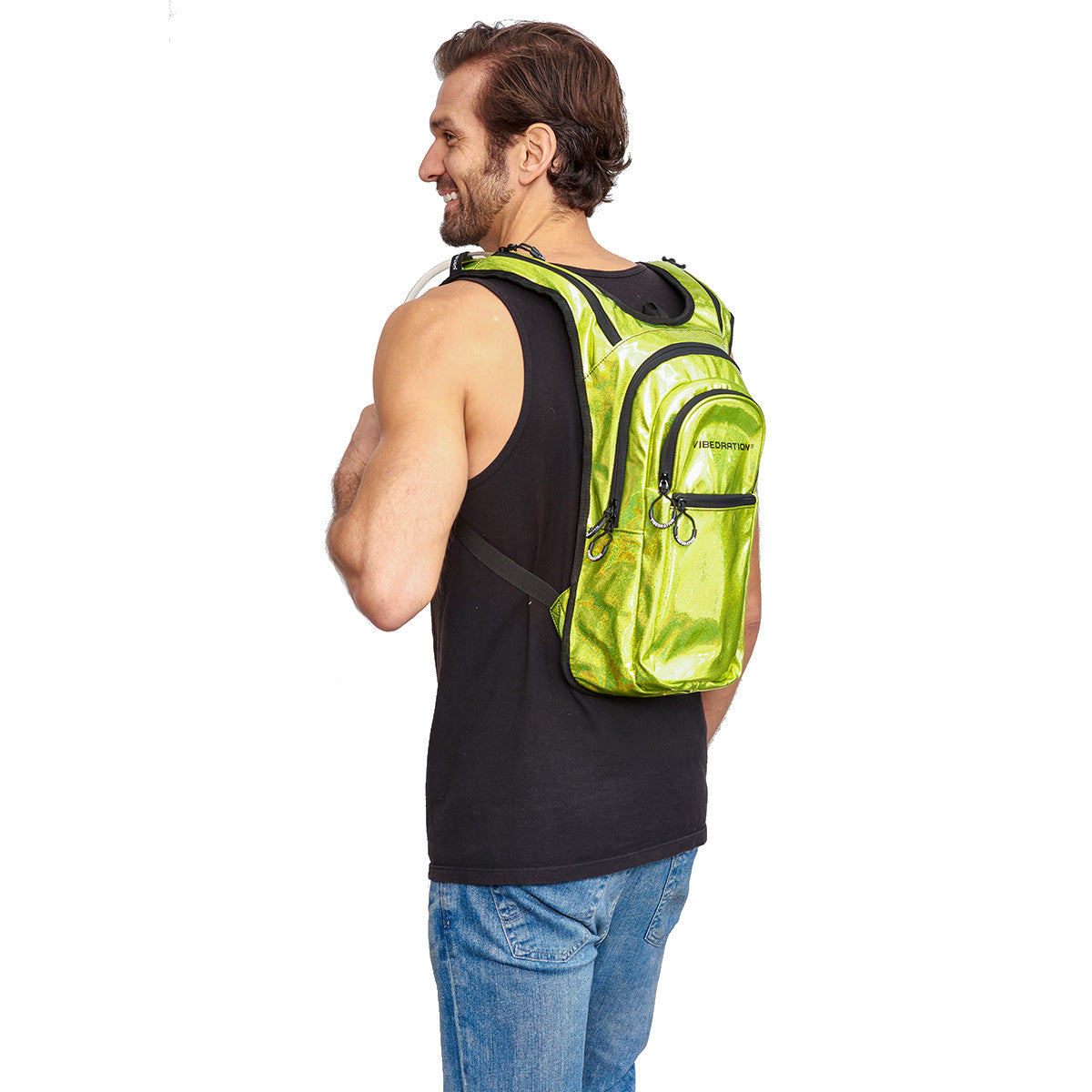 Side shot of Male wearing VIP 2.0L Neon Green Rave Hydration Pack