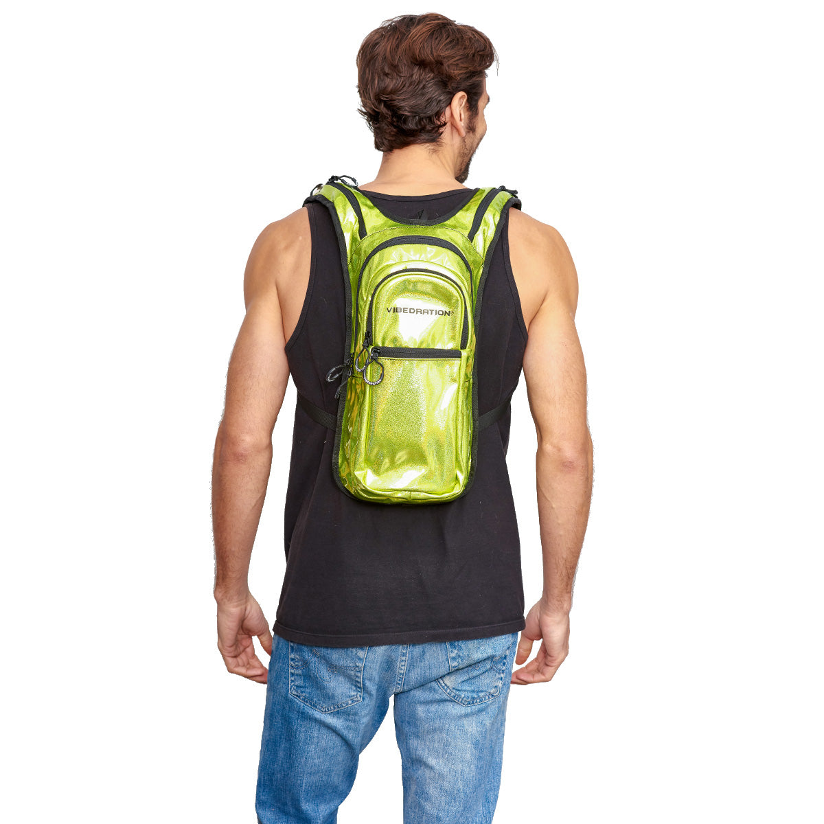 Back shot of male wearing Neon Luxe VIP 2.0L EDC Pack