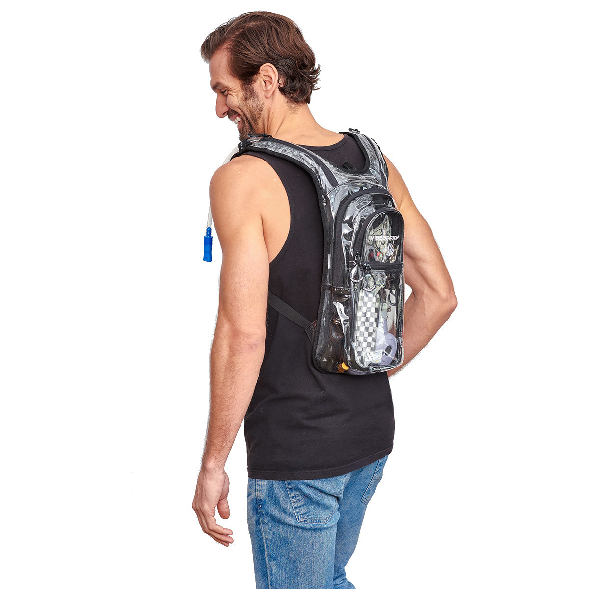 Side shot with hose of Male wearing VIP 2.0L Clear Festival Hydration Pack
