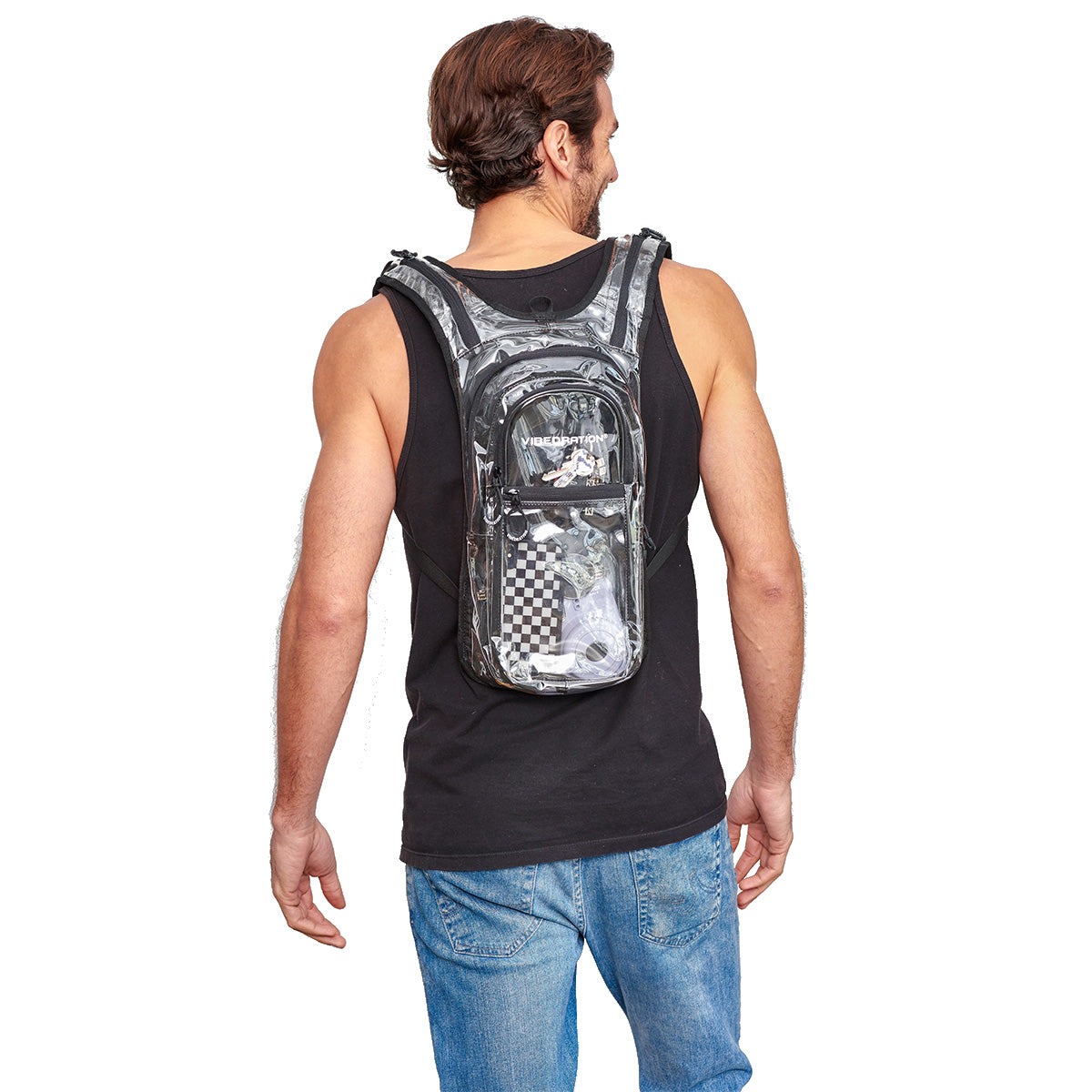 Back shot of Male wearing VIP Clear Festival Hydration Pack