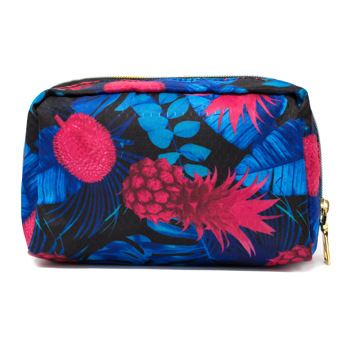 Pink and Blue Pineapple Makeup Bag with Rainbow Zipper back