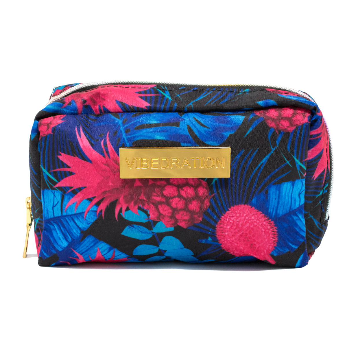 Pink and Blue Pineapple Makeup Bag with Rainbow Zipper front