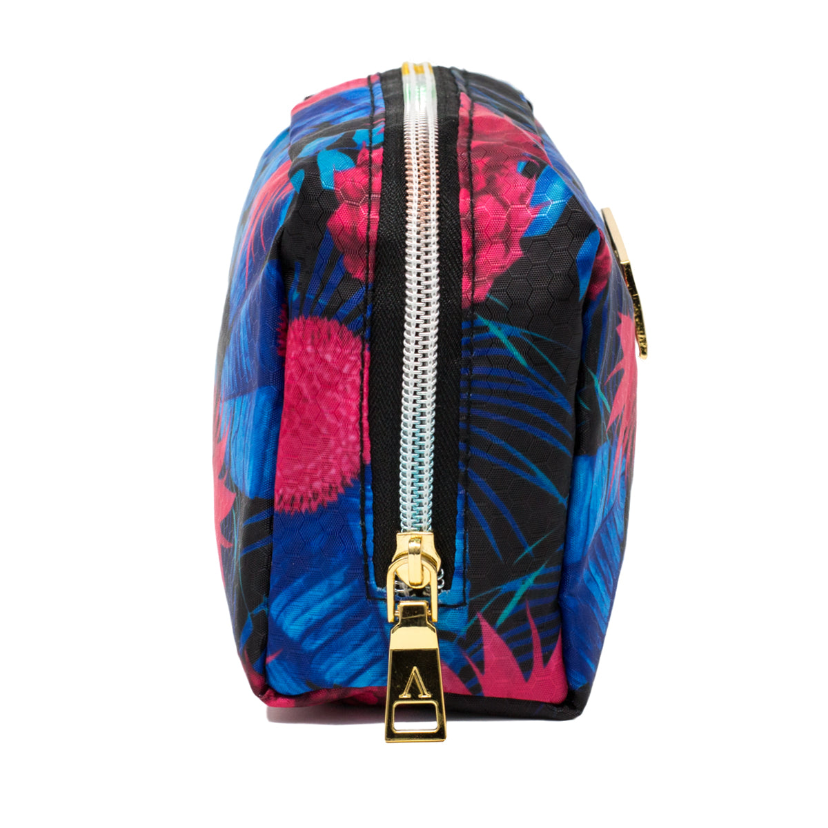 Pink and Blue Pineapple Makeup Bag with Rainbow Zipper side