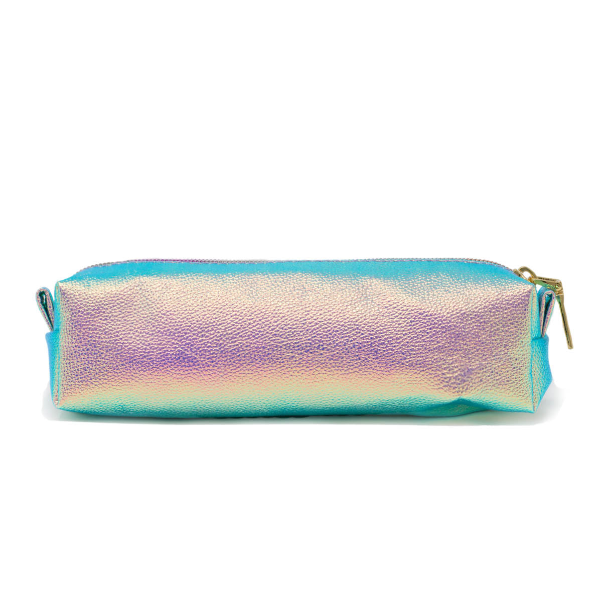 Back view of iridescent pink pencil bag.