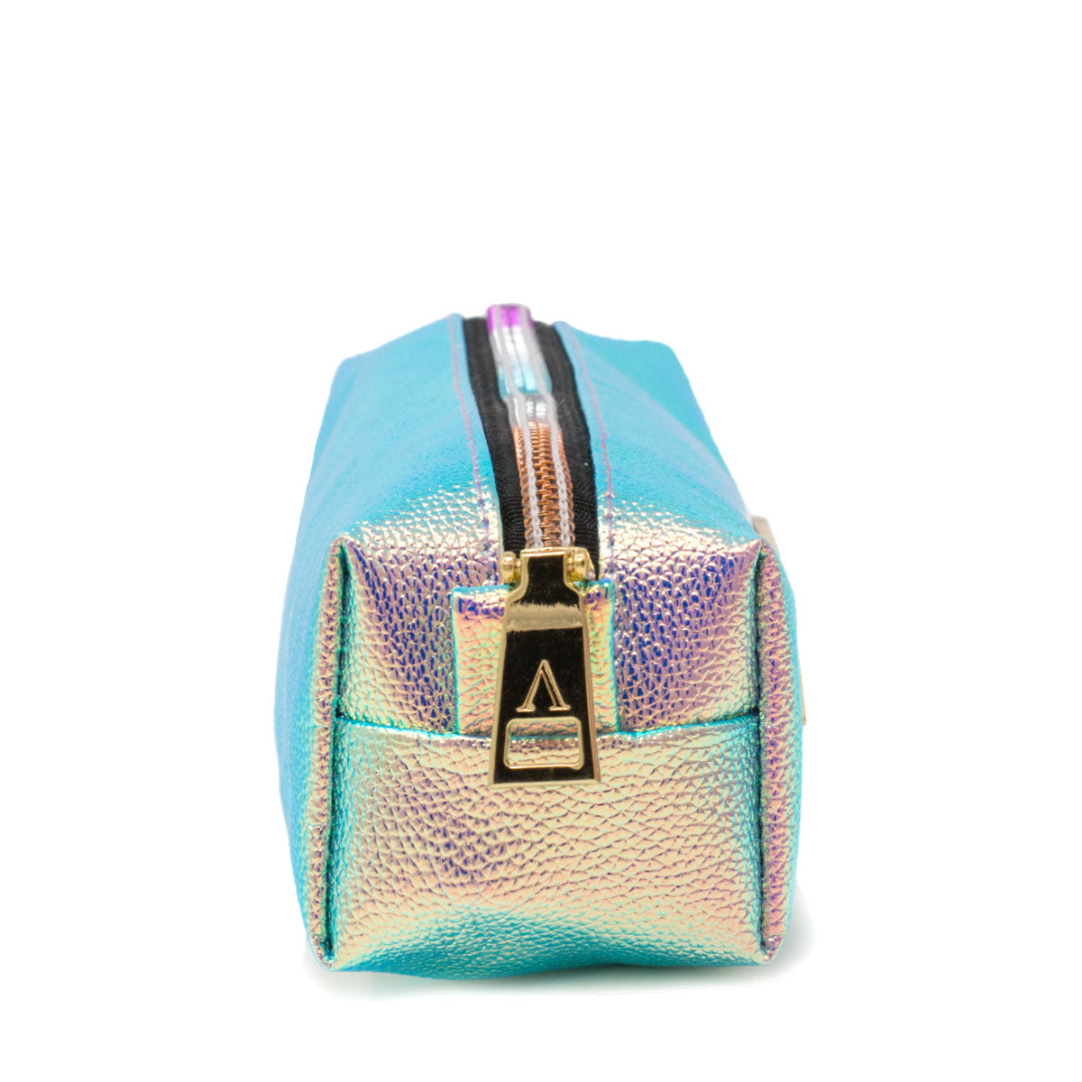 Side view of iridescent pink pencil bag with gold plated zipper puller and rainbow zipper.