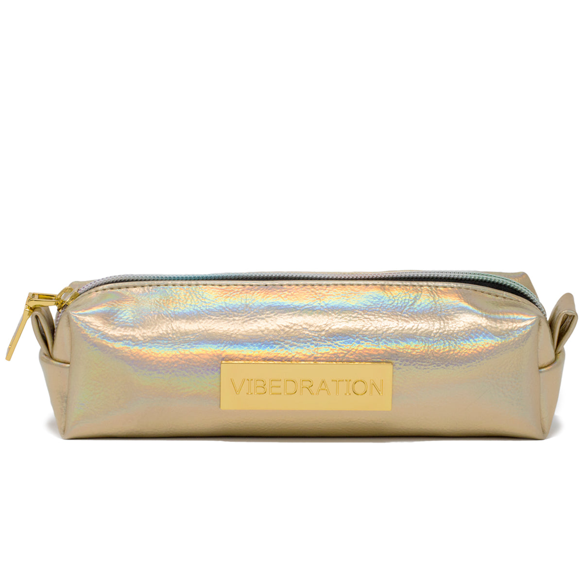 Front view of light gold pencil bag with gold vibedration plated logo.