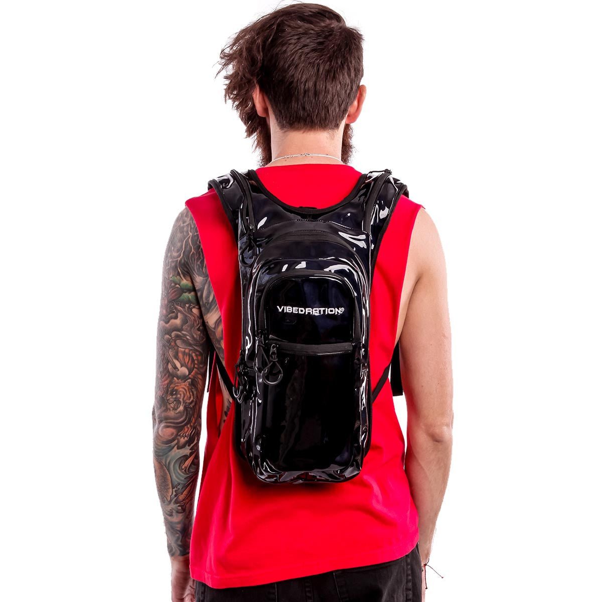 Male wearing Black hydration pack